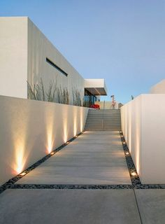 Modern Spaces Design, Pictures, Remodel, Decor and Ideas - page 34  Lighting, grey pebbles for in front o bench setback around pool