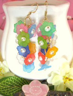 Rainbow cluster cherry blossom earrings by KBlossoms on Etsy, $45.00
