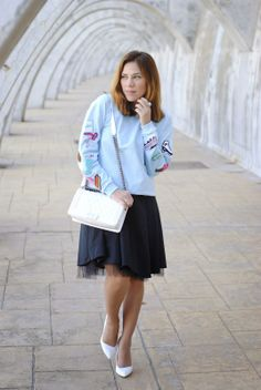 SKY BLUE 9-4-2014  Lefties sweatshirt / Motivi Italia dress / Zara shoes / LePiccola bag