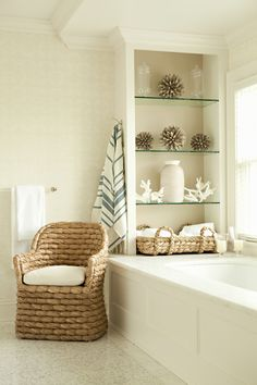 Seagrass Chairs Beach Bathrooms Beach Theme Bathroom Home 20 Pretty White Chairs In The Bathroom Home Design Lover 20 Pretty White Chairs In The Bathroom Home D Nautical Bathrooms, Beach Bathrooms, Bathroom Spa, Bathroom Shelves, Serene Bathroom, Bathroom Chair, Master Bathroom, Bath Shelf, Ikea Bathroom