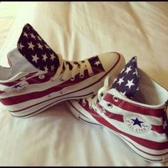 red white and blue converse high tops