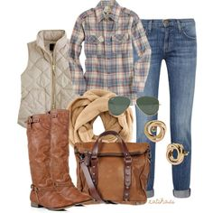 Casual Fall Outfits With Plaid Shirts - Lighter tones of plaid and jeans. Komplette Outfits, Casual Outfits, Fashion Outfits, Flannel Outfits, Hipster Outfits, Fashion Clothes, Fall Winter Outfits, Autumn Winter Fashion, Winter Wear
