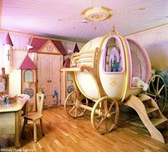Bedroom,Wonderful Fairy Tales Kids Bedroom Design Ideas With Unique Wooden Carriage Bed And Castle Wall Art,Exhilarate Kids Bedroom Designs Inspirations