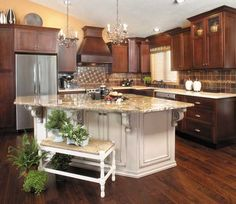 Kitchen Ideas Off White Cabinets cherry kitchen cabinets with off white island | kitchen ideas