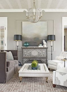 This modern Moroccan living room is beautiful!