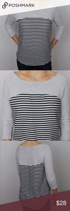 3/4 sleeve JCrew blouse 3/4 sleeve, J Crew blouse features grey tee color blocking on top & navy/cream stripes on bottom. Is a fall staple, making it idea for pairing with jeans + booties, or tall boots + your favorite jacket. Light weight material, that lays flat, perfect for shape! J. Crew Tops Blouses