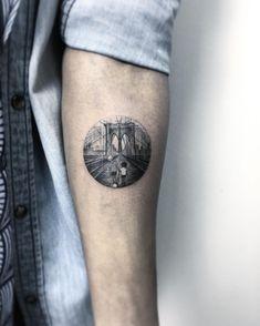 Brooklyn Bridge circular tattoo design by Eva Krbdk