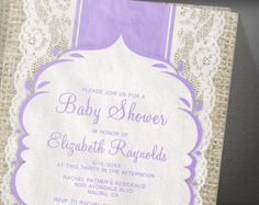 Lavender Vintage Lace Baby Shower Invitation