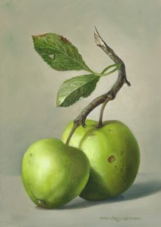 Twee appels olieverf op paneel 18 x 13 cm