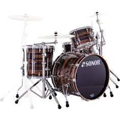 4pc Sonor Ascent Jazz Drum Set- Ebony Stripes