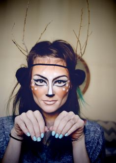 Deer-like look make-up tutorial for Halloween from Cheap Frills and Thrills