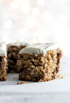 Healthy Banana Cake made without butter or oil, but so tender and flavourful that you'd never be able to tell. Topped with a lightened-up cream cheese frosting, this delicious banana-flavoured cake feels decadent but is actually surprisingly healthy   runningwithspoons...