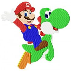 Super Mario, Yoshi, Cartoon Characters, Fictional Characters, Machine Embroidery Designs, Pattern Design, Crafts, Stitches, Cartoon Caracters