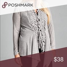 Plus size Chic Ruffle Cardigan Heather grey beautiful versatile cardigan with ruffle front detail with attached tie. Nwot . Please select buy now and select size to buy or add to bundle for a discount on 2 or more items in my closet . Vivacouture Sweaters Cardigans