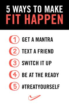 5 WAYS TO MAKE FIT HAPPEN // Check out the Front Row by NikeWomen, where you'll find 5 helpful tips for making your workouts fun and keeping your routine interesting.