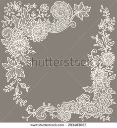 Cream-Colored Lace. Corners. Floral pattern.