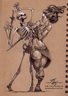 Women and skelleton //Kevin Keele's Wonderful Sketchbook Drawings