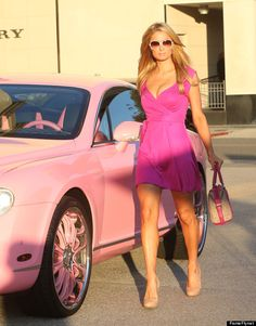 Paris Hilton Channels Barbie In Her Pink Bentley