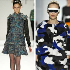 Reworking camouflage for far flung missions. Nanette Lepore explores the earth's surfaces from outer space, whilst explorers Michael Kors are ready for icy conditions #mkfall #nyfw #mbfw #pattern #runway #trends #aw13 #fur #camo #camouflage