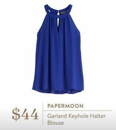 Stitch Fix June 2016 - Papermoon, Garland Keyhole Halter blouse, $44 Royal blue date night