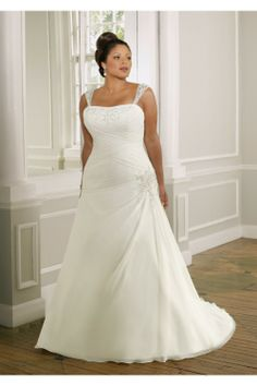 Ivory Scoop Neckline A-line Elgant Plus Size Ruched Organza Wedding Dresses For Brides Wedding Gown