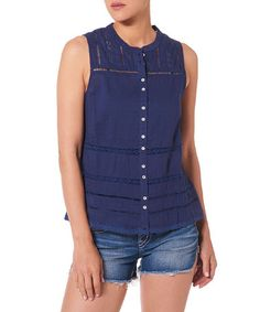 Look what I found on #zulily! Navy Lace-Crochet Viole Tank #zulilyfinds