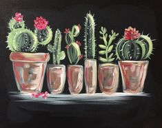 Chalk Drawings Sidewalk Discover Join us for a Paint Nite event Sat Nov 10 2018 at 2033 Avenue B North Saskatoon SK. Purchase your tickets online to reserve a fun night out! Cactus Drawing, Cactus Painting, Cactus Art, Diy Painting, Cactus Plants, Cactus Decor, Succulents Painting, Flower Painting Canvas, Chalkboard Art