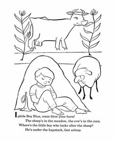 bluebonkers nursery rhymes coloring page sheets little boy blue mother goose