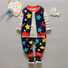 Baby boys/girls Clothing Sets 3pcs/sets 2016 new christmas tracksuit set long sleeve kids outfits suits Zip star sports suit(China (Mainland))