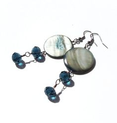 Midnight Titanium Earrings Silver Grey Blue by InspiredByKarma, $17.00