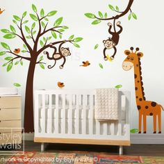 Monkeys and Giraffe Tree Branch and Birds HUGE Set Nursery Playrooom | Styleywalls - Housewares on ArtFire