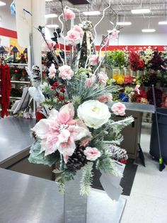 Christmas floral Christmas Crafts, Christmas Decorations, Xmas, Table Decorations, Christmas Floral Arrangements, Flower Arrangements, Christmas Scenes, Durham, Floral Designs