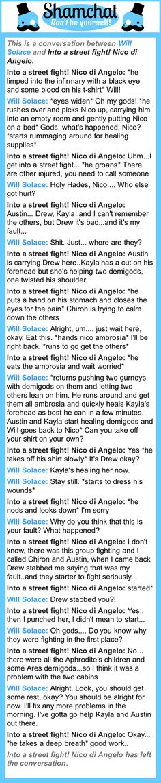 A conversation between Into a street fight! Nico di Angelo and Will Solace