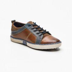 Sneakers cuero marrón claro y azul petróleo