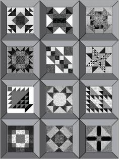 Sampler Quilt Layout Pattern with Mitered Frames