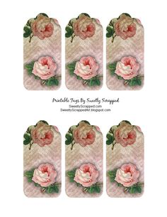 "Printable Rose Tags... Click right on image to enlarge OR Click HERE to open in a new window and then right click and choose ""Save ..."