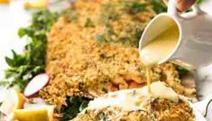 This Baked Parmesan Crusted Salmon is a stunning centrepiece salmon for Christmas dinner yet fast enough for midweek! Served with a Lemon Cream Sauce. Salmon With Cream Sauce, Sauce For Salmon, Easy Fish Recipes, Salmon Recipes, Healthy Recipes, Healthy Meals, Parmesan Crusted Salmon, Smoked Salmon Appetizer, Lemon Cream Sauces