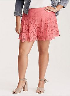 """<div>Keep up the pace; while cutoffs are great, dressed-up shorts are the next big thing. Flirty and feminine coral pink floral lace gets moving and grooving thanks to a wider scalloped leg opening, a smocked back, and a tummy smoothing waistband.</div><div><ul><li style=""""list-style-position: inside !important; list-style-type: disc !important"""">3 1/2"""" inseam</li><li style=""""list-style-position: inside !important; list-style-type: disc !important"""">Cotton/nylon</li><li…"""