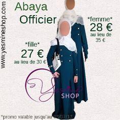 La abaya Officier est aussi en promo ! 28 euros au lieu de 35 pour la version femme et 27 euros au lieu de 30