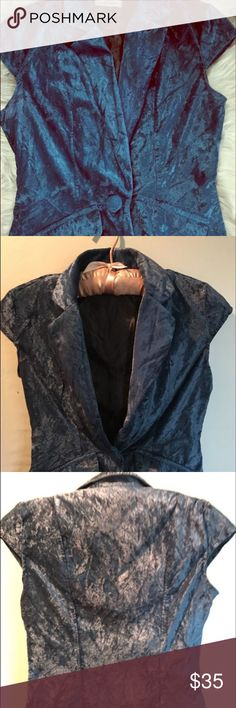 DOKI GEKI CRUSHED VELVET VEST Size Small, DOKI GEKI crushed velvet short sleeve vest style jacket. Two faux pockets in front. Single velvet covered button to close Jacket. Very sexy on the right frame. No tears, holes, or stains. Jackets & Coats Vests