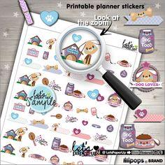 Dog Stickers, Printable Planner Stickers, Pet Stickers, Erin Condren, Planner Accessories, Animal Stickers, Set Stickers, Functional Sticker