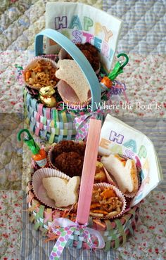 Easter Baskets are picnic ready with Bunny-Shaped Sandwiches, Carrot Cake Cookies, and Bunny Snack Mix  | homeiswheretheboatis.net