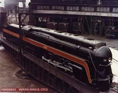 N&W 602 on turntable at the Roanoke VA yards....the 602 was scrapped. Only the 611 remains of these beautiful locomotives....