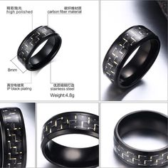 5e4f179952 New Stainless Steel Ring Titanium Silver Black Gold Men SZ 7-12 Wedding  Wedding Blue