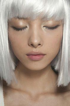 Platinum bob with bangs
