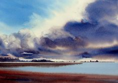 Enda Bardell - BILLOWING- Watercolor - Painting entry - October 2014 | BoldBrush Painting Competition Watercolor Clouds, Watercolor Images, Watercolor Artwork, Watercolor Artists, Watercolor Landscape, Landscape Art, Landscape Paintings, Watercolor Painting Techniques, Painting Lessons