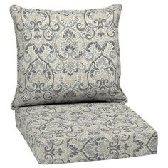 Arden Selections 2-Piece Neutral Aurora Damask Deep Seat Patio Chair Cushion in the Patio Furniture Cushions department at Lowes.com Outdoor Deep Seat Cushions, Outdoor Seating, Patio Furniture Cushions, Patio Chairs, Replacement Patio Cushions, Large Pillows, Outdoor Fabric, Damask, Club Chairs