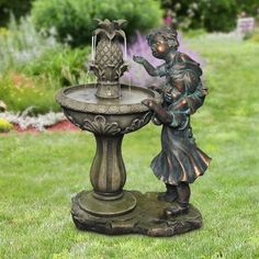 Alpine Polyresin and Stone Powder Boy and Girl Fountain