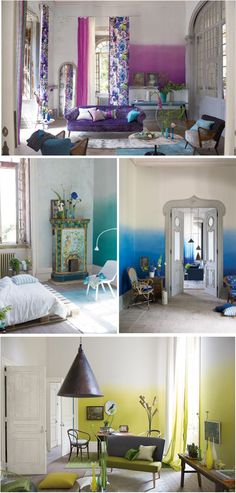 Color gradient as wall art .....Ombre wallpaper.  Willing to try this on my own :)