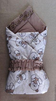 Купить Конверт- одеяло - бежевый, рисунок, одеяло для новорожденного, одеяло на выписку, одеяло детское